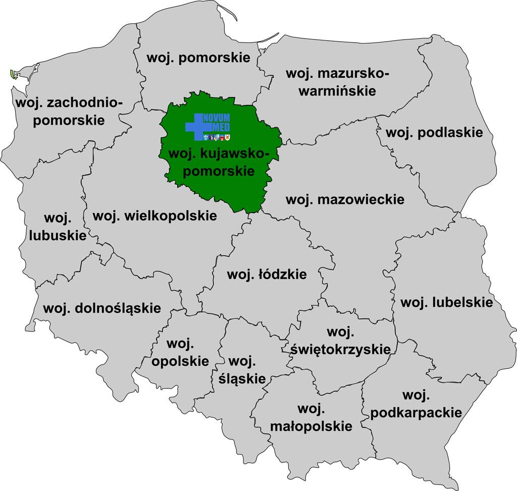 Mapa obszaru działania Szpitala w Więcborku